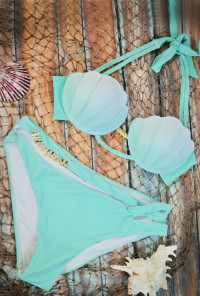 Mermaid Vibes Ombre Seashell Bikini Top in Mint