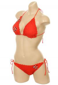 Crochet Scallop Edge Triangle Bikini Set in Sunset Orange