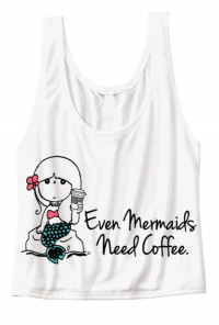 Mermaids Need Coffee Flowy Crop Tank Top white