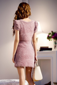 Furry Sequin Mini Dress in mauve