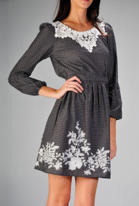 Long Sleeve Lace Embroidered Tunic Dress