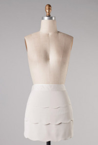 High Waist Scallop Ruffle Skirt