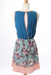 Floral Print Color Block Dress