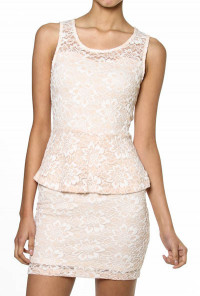 pink Floral Lace Peplum Dress