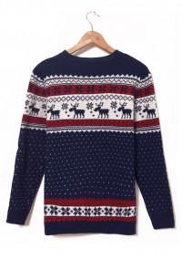 Navy Nordic Print Sweater