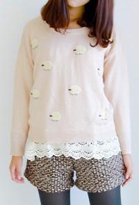 Pink Sheep Pattern Oversized Sweater