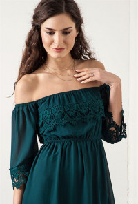 Off Shoulder Lace Dress in Forest Green