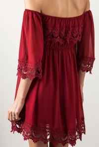 Wine Off Shoulder Lace Dress