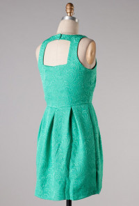 Emerald Sleeveless Jacquard Print Dress