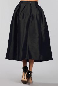 Taffeta Black Midi Skirt
