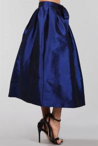 Taffeta Navy Midi Skirt