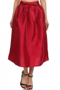 Taffeta red Midi Skirt
