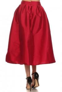 Taffeta burgundy Midi Skirt
