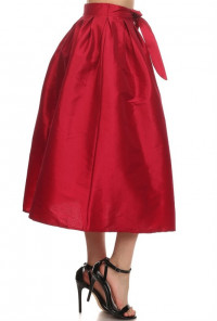 Taffeta wine Midi Skirt