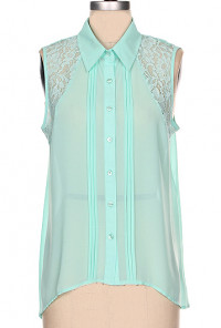 mint Pintuck Lace Inset Sleeveless Blouse