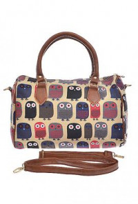 Nocturnal Companion Retro Owl Print Barrel Satchel Handbag