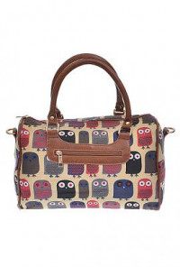 Satchel - Nocturnal Companion Retro Owl Print Barrel Satchel Handbag