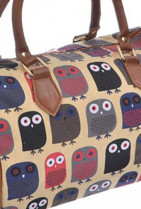 Retro Owl Print Barrel Satchel Handbag