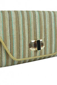Pacific Rim Oversized Striped Straw Beige Turquoise Clutch