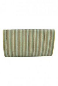 Striped Straw Beige Turquoise Clutch