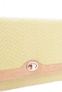 South Beach Waves Zig Zag Pattern Oversized Straw Yellow Clutch