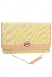 Clutch - South Beach Waves Zig Zag Pattern Oversized Straw Yellow Clutch