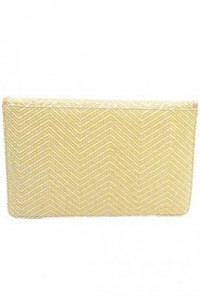 Oversized Straw Yellow Clutch