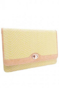Zig Zag Pattern Oversized Straw Yellow Clutch