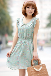 Cap Sleeve Multi-color Dotted Dress