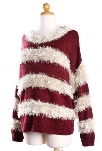 burgundy Mohair Stripe Sweater