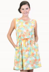 Sleeveless Palm Print Dress