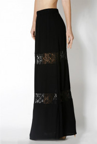 Black Lace Paneled Gauze Maxi Skirt