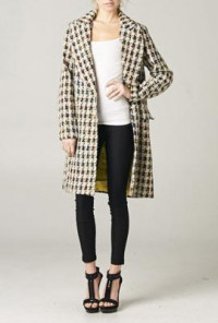Houndstooth Oversized Trench Coat Beige