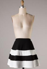 High Waist Color Block Skater Skirt in Noir