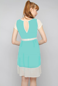 mint blue Short Sleeve Contrast Dress