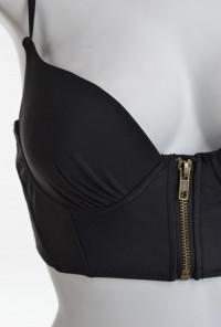 cute Pin-up Girl Corset High Waist Bikini in Solid Black