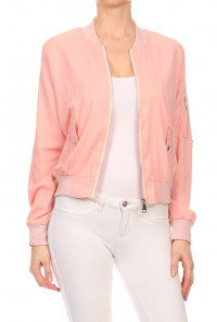 Pink Ladies Bomber Jacket in Dust Pink