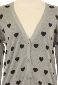 grey Heart Print Cardigan