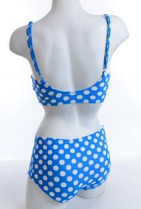 Pin-up Girl Polka Dot Corset Bikini Top with High Waist Bikini Bottom