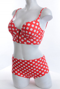 Polka Dot Print Corset Bikini Top with High Waist Bikini Cherry Red