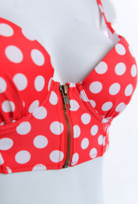 Pin-up Girl Polka Dot Print Corset Bikini Top with High Waist Bikini Cherry Red