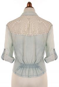 Crochet Lace Stone Washed Chambray Shirt