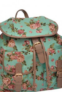 Shabby Chic Floral Print Slouch Mint Backpack