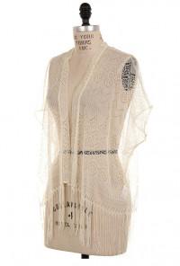 Lace Fringe Kimono Cardigan
