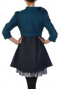 Dark Teal Navy Bow Coat Dark
