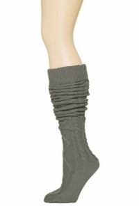 Socks Preppy Life Cable Knit Gray Thigh High Socks