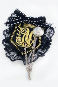 Brooch - Preppy Life Crested Lace Trim Brooch in Navy