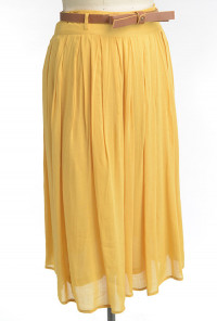mustard Belted Pleat Midi Skirt