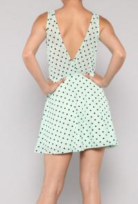 Mint Sleeveless Bow Polka Dot Dress