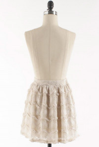 Wavy Floral Lace Skater Skirt